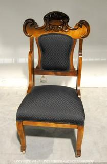 Antique Wooden Chair with Upholstered Seat