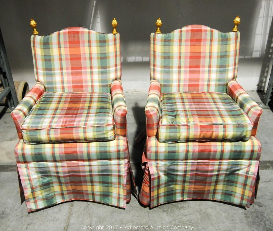2 Plaid Upholstered Chairs. U2039u203a