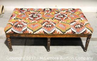 Antique Southwestern Style Upholstered Large Bench