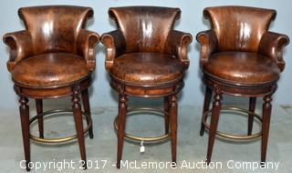 Three Leather Swivel Barstools by Maitland Smith