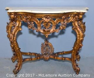 Louis XV Style Console with Distressed Gold Leaf Decape Finish and Marble Top
