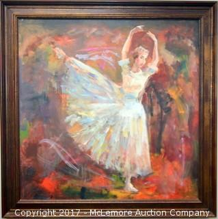 Oil Painting of Ballerina by Murat Kaboulov in 2005 from a Private Collection