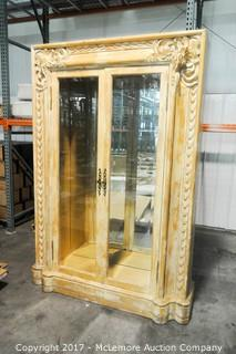 Traditional Imports Large Curio Cabinets with Mirror Back and 3 Glass Shelves