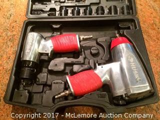 """Husky Air Tool Set in Case: 1/2"""" Impact Wrench (H23431), 4300BPM Air Hammer (H23433), Parts. 3/8"""" Ratchet is Missing."""