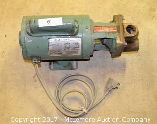 Burks Boiler Feed Turbine Pump. USA. 3CT5M, GE 1/3 HP. 3450 RPM. Runs as Designed.