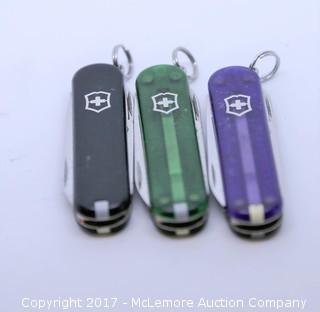 Set of 3 Small Swiss Army Knives (Green, Purple, Black)