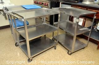 Three Metal Carts on Casters