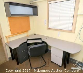 Desk with Filing Cabinet, Wall Mounted Cabinet, Cork Board, Chair, and Separate Filing Cabinet