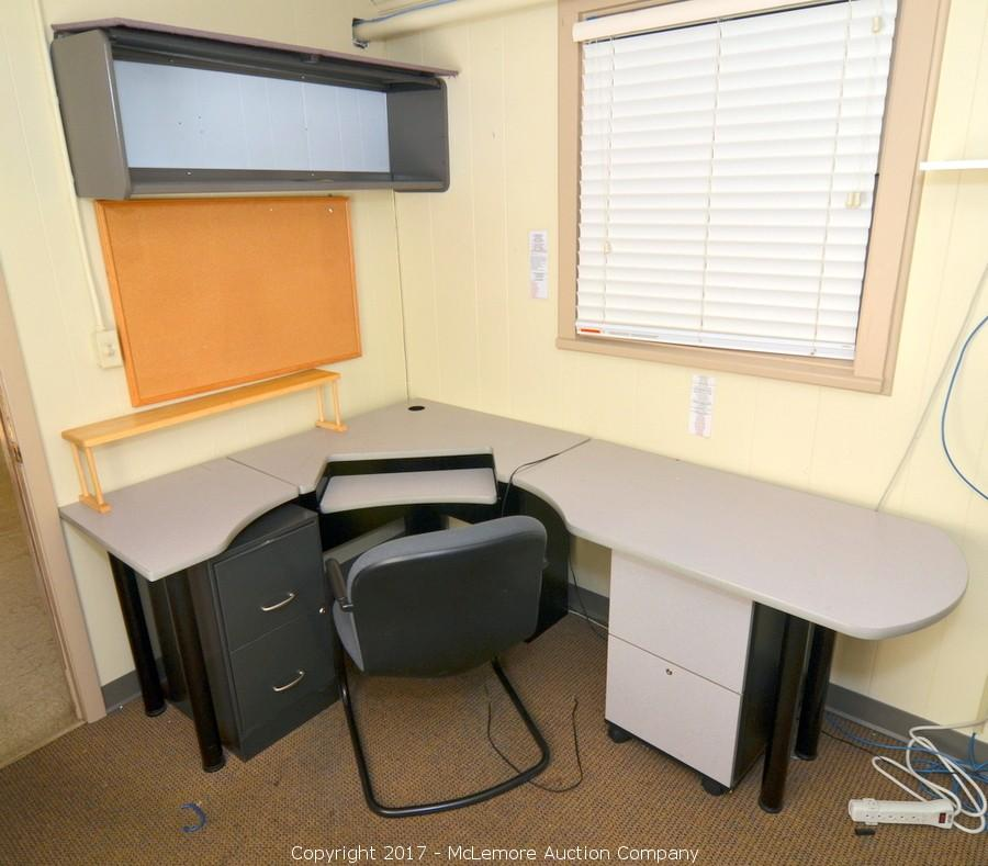 Desk With Filing Cabinet, Wall Mounted Cabinet, Cork Board, Chair, And  Separate. U2039u203a