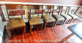 6 Wood Dining Chairs with Leather Seats