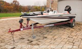 Cajun Travis Edition 18 Foot Fiberglass Fishing Boat with Trailer and Johnson 130HP Outboard Motor