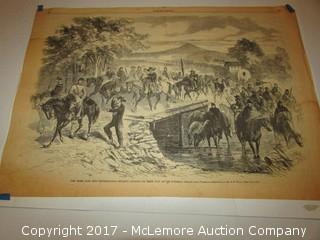 Confederate Civil War Original 1862 Rebel Raid Stuart's Cavalry Newspaper Print Harper's Weekly