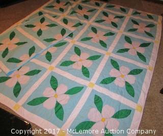 True Vintage Blue Pink Flower Patchwork Quilt with Shams Floral Squares