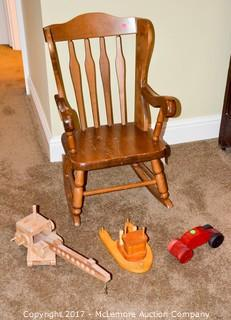 Childrens Wooden Rocking Chair & Toys