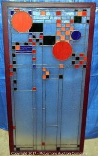 Framed Prairie Style Glass Panel