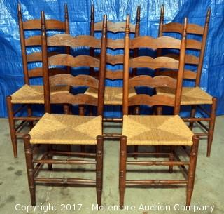 Five Wood Chairs with Woven Rush Seats