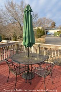 Metal Patio Table with Four Chairs and Umbrella