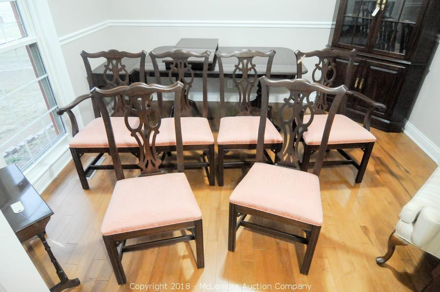 6 Ethan Allen Dining Chairs With Upholstered Seats. U2039u203a