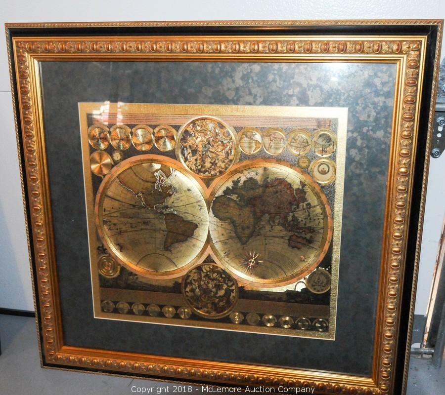 World Map By Peter Schenk The Elder.Mclemore Auction Company Auction Fine Furniture Electronics
