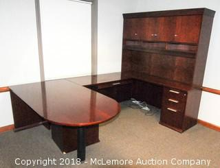 Wooden Executive 5 Piece Desk with 5 Drawers and Hutch