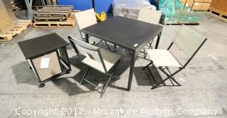 Logan 6 Piece Steel Set with 4 Chairs, Folding Table and Storage Cart Table