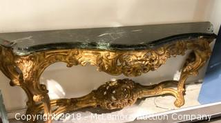 Ornate Marble Top Console Table