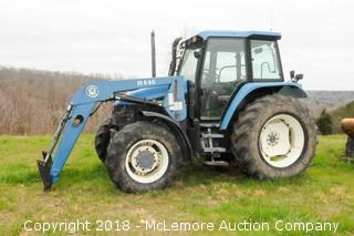 New Holland TS110 Enclosed Cab Tractor with Loader, Bucket and Hay Spear  - Call (615) 509-2428 for location info