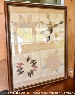 Framed Section of Antique Quilt