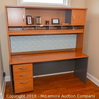 Desk with Hutch and Filing Cabinet