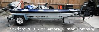 14 Foot Flat Bottom Jon Boat with 7.5 HP Scott-Atwater Motor and Trailer