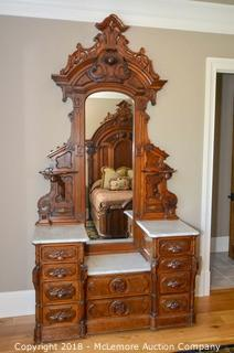 Victorian Dresser with Mirror and Marble Tops