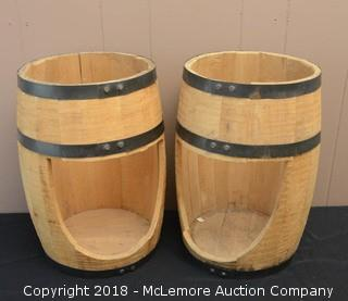 (2) Small Wood Barrel Displays