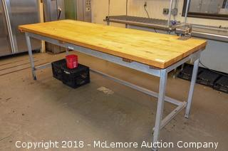 Butcher Block Table with Metal Base