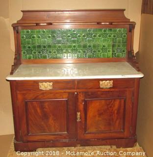 Antique Hutch Sideboard Buffett Marble Top Rare Peacock Tile Back