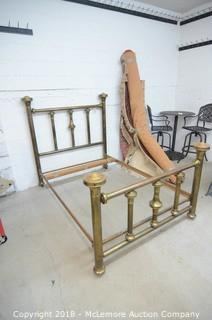 Brass Bed with Rails and Slats