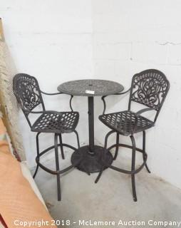 Metal Pub Height Patio Table with 2 Chairs