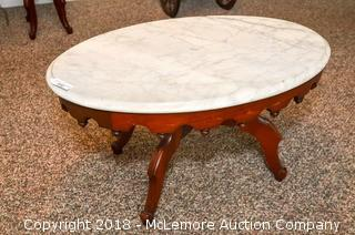 Antique Coffee Table with Marble Top