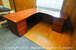L Shaped Executive Desk with 5 Drawers