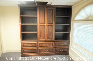 Bookcase Cabinet with 6 Drawers and Center Cabinet with Slide In Doors
