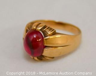 Men's 10K Yellow Gold Art Deco Style Ring with Oval Cabochon Cut Synthetic Ruby
