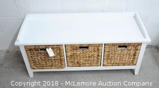 Bench with 3 Drawers with Wicker Fronts
