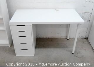 Desk Top with Metal Legs on 1 Side and 5 Drawer Cabinet