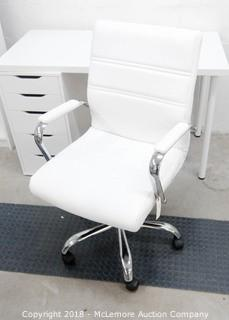 White Faux Leather Desk Chair with Chrome Base and Arms