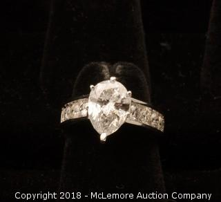 14K White Gold Pear Shaped Diamond Engagement Ring