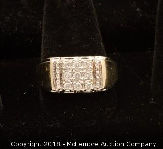 10K Yellow Gold Mens Diamond Ring