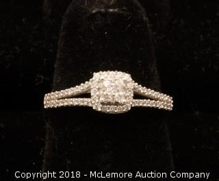 10K White Gold Split Shank Diamond Engagement Ring
