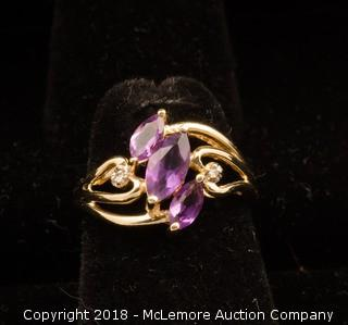 14K Yellow Gold Marquise Cut Amethyst Ring