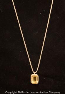 14K Yellow Gold Emerald Cut Citrine Pendant