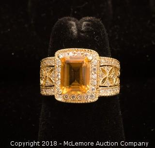 14K Yellow Gold Princess Cut Citrine Ring