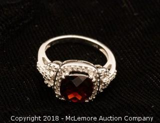 10K White Gold Mozambique Garnet Ring